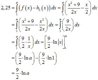 Bestimmtes Integral von f von x minus h_2 von x dx über 1 bis a