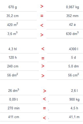 Vergleichen von Größen Lösungen