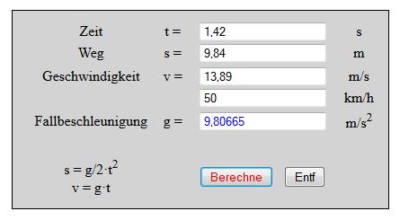 Geschwindigkeit Berechnen Mathe : freier fall weg zeit und geschwindigkeit berechnen ~ Themetempest.com Abrechnung