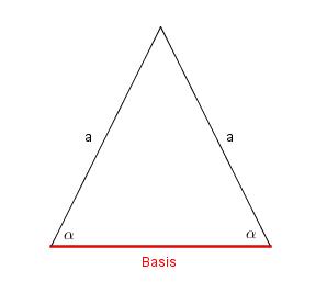 Basis beim gleichschenkligen Dreieck