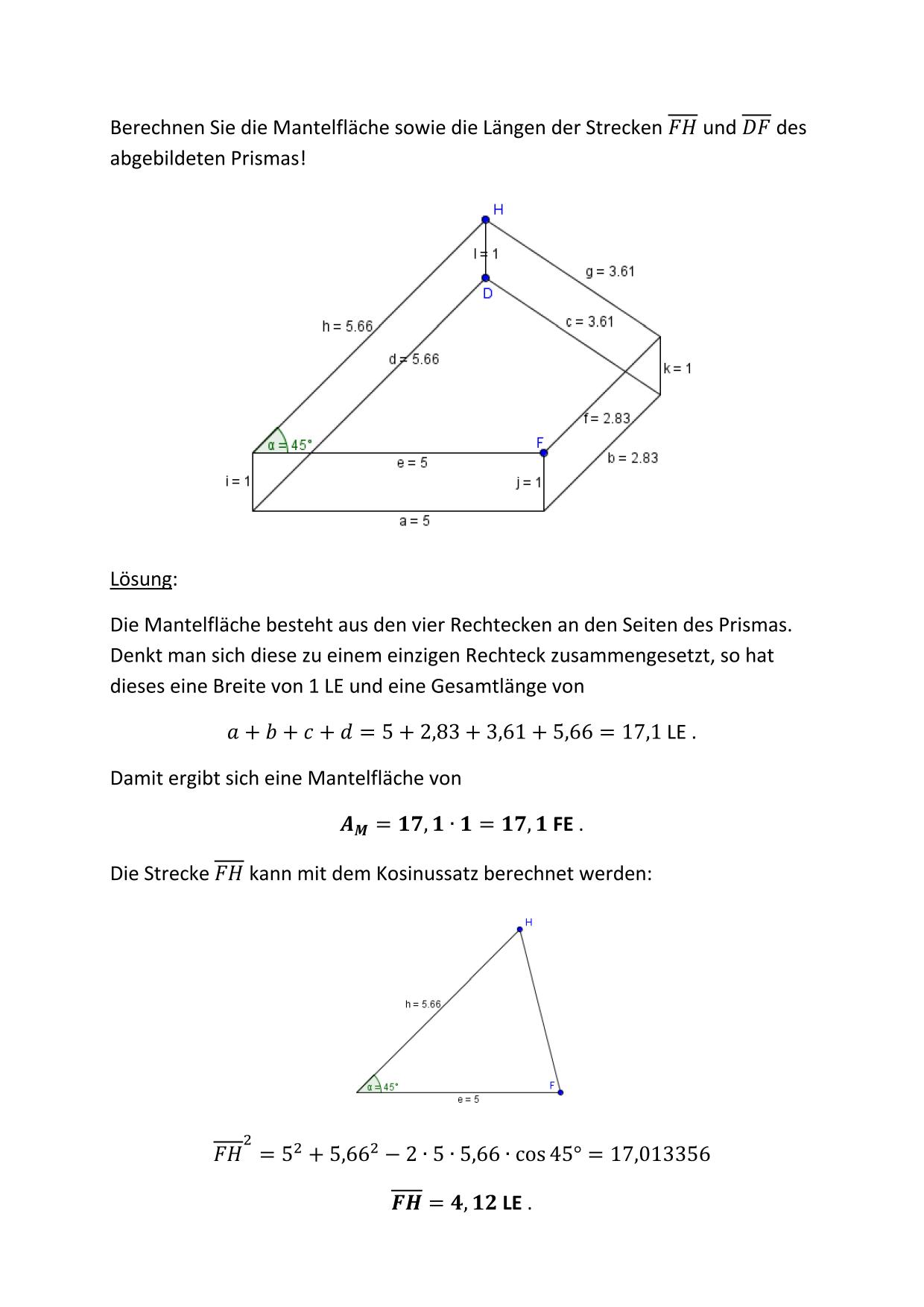 Berechnungen am Prisma